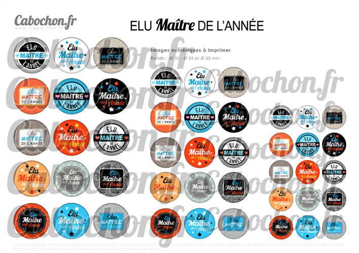 Elu Maître de l'Année ☆ 45 Images Digitales Numériques RONDES 30 25 et 20 mm Page de collage digital pour cabochon