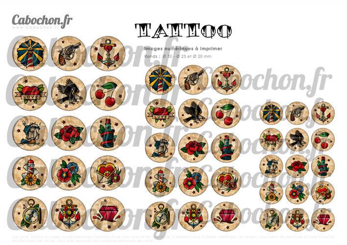 TATTOO lll ☆ 45 Images Digitales Numériques RONDES 30 25 et 20 mm Page de collage digital pour cabochons