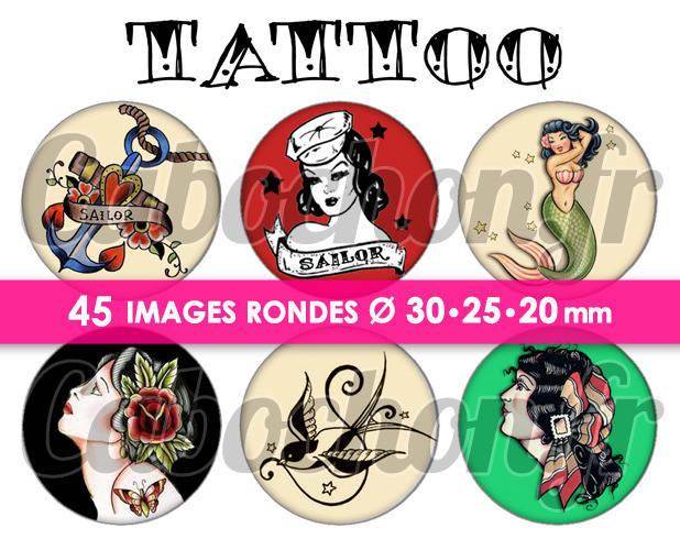 TATTOO ll ☆ 45 Images Digitales Numériques RONDES 30 25 et 20 mm Page de collage digital pour cabochons
