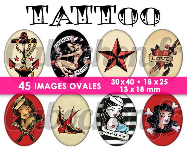 TATTOO ☆ 45 Images Digitales Numériques OVALES 30x40 18x25 et 13x18 mm Page digitale pour cabochons
