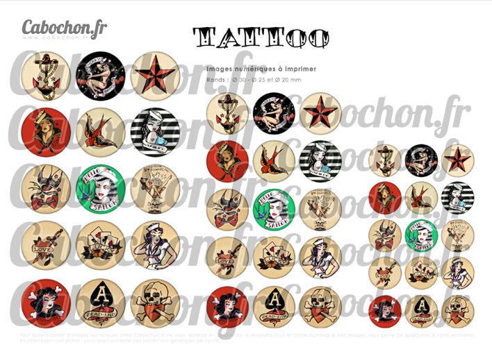TATTOO ☆ 45 Images Digitales Numériques RONDES 30 25 et 20 mm Page de collage digital pour cabochons
