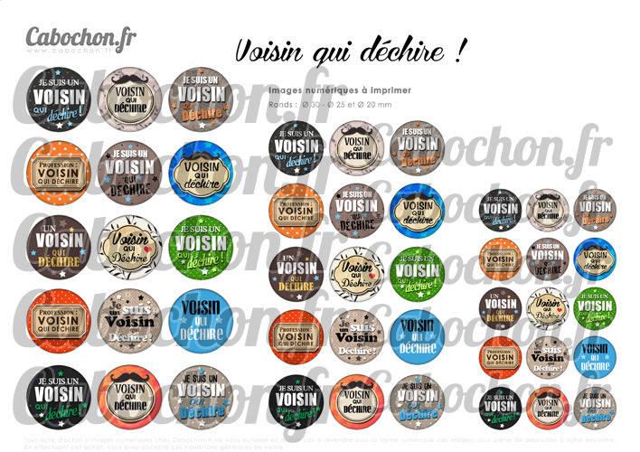 Voisin qui déchire ! ☆ 45 Images Digitales Numériques RONDES 30 25 et 20 mm Page de collage digital pour cabochon