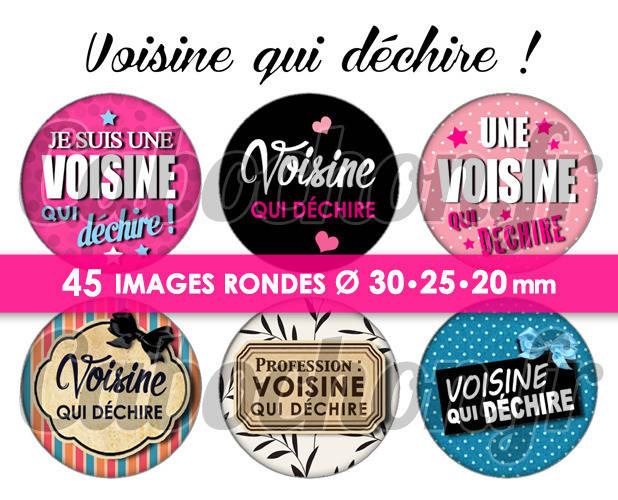 Voisine qui déchire ! ☆ 45 Images Digitales Numériques RONDES 30 25 et 20 mm Page de collage digital pour cabochon