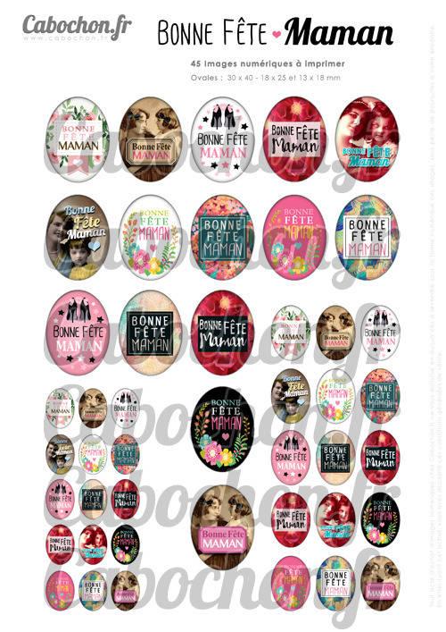 Bonne Fête Maman Vlll ☆ 45 Images Digitales Numériques OVALES 30x40 18x25 et 13x18 mm Page digitale pour cabochons