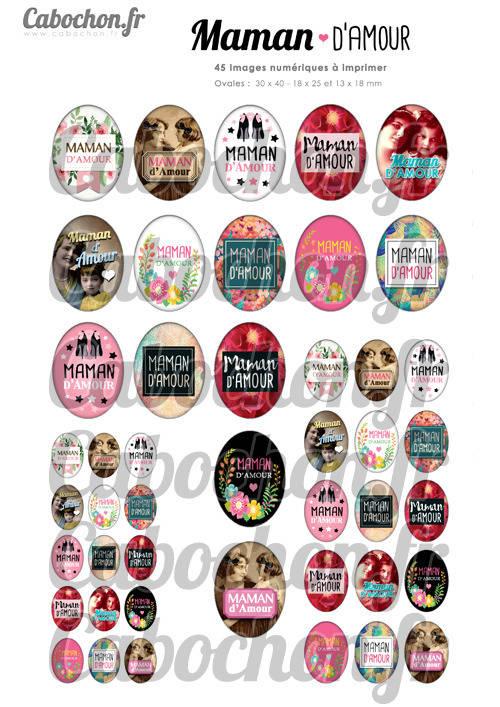 Maman d'Amour ☆ 45 Images Digitales Numériques OVALES 30x40 18x25 et 13x18 mm Page digitale pour cabochons