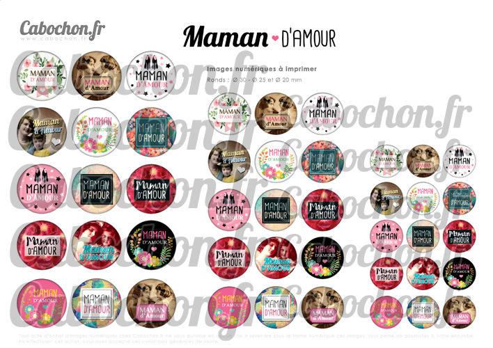 Maman d'Amour ☆ 45 Images Digitales Numériques RONDES 30 25 et 20 mm Page de collage digital pour cabochon