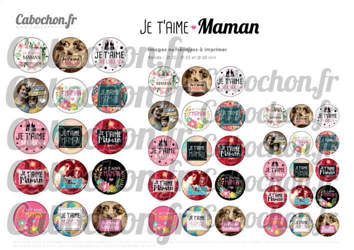 Je t'aime Maman lll ☆ 45 Images Digitales Numériques RONDES 30 25 et 20 mm Page de collage digital pour cabochons