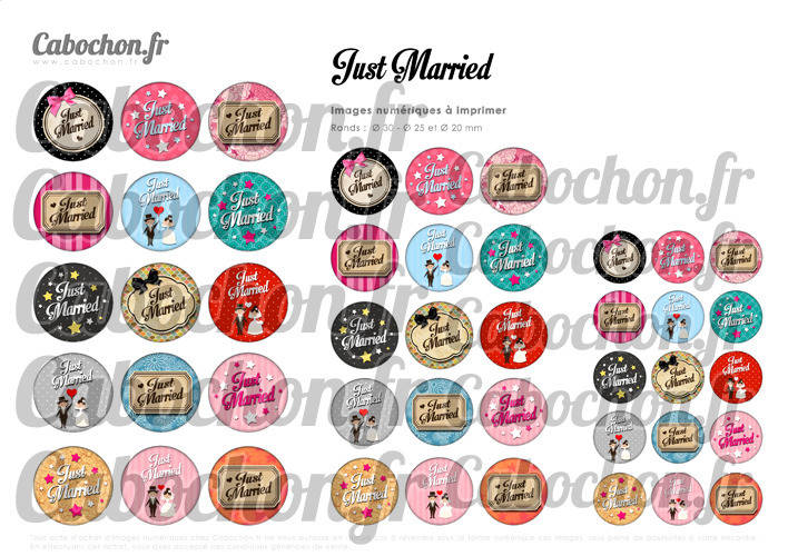 Just Married ☆ 45 Images Digitales Numériques RONDES 30 25 et 20 mm Page de collage digital pour cabochons