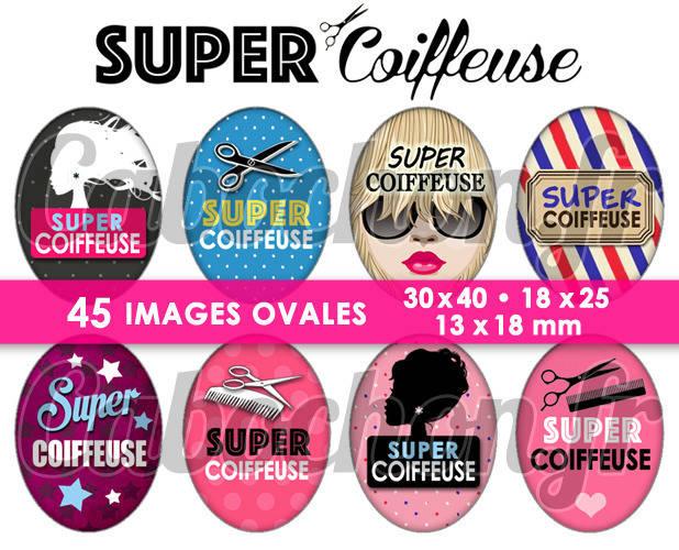 Super Coiffeuse ☆ 45 Images Digitales Numériques OVALES 30x40 18x25 et 13x18 mm Page digitale pour cabochons