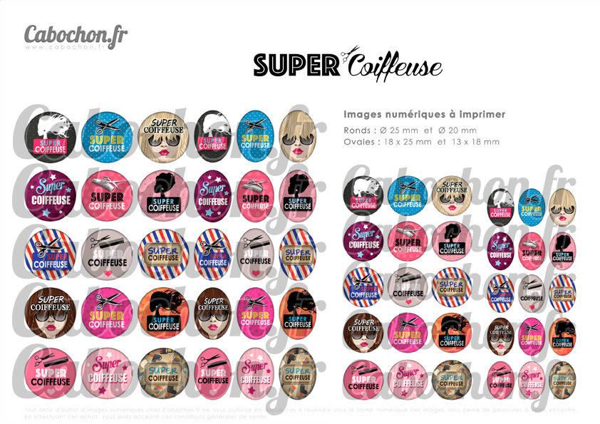 Super Coiffeuse ☆ 60 Images Digitales Numériques RONDES 25 et 20 mm et OVALES 18x25 et 13x18 mm Page d'images pour cabochons