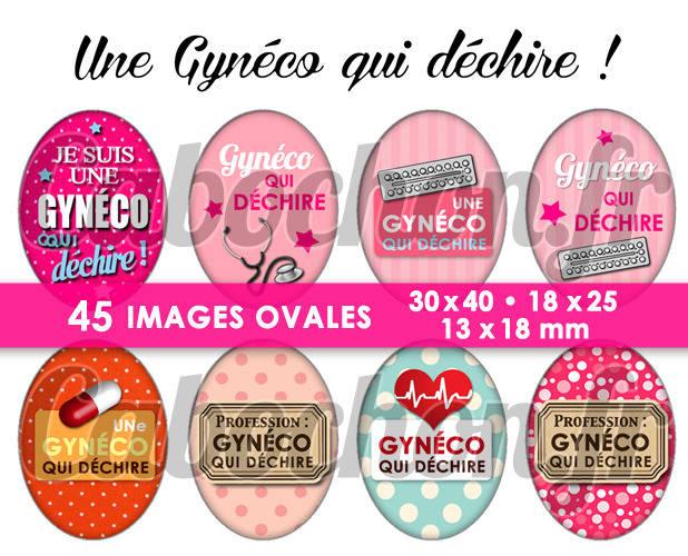 Une Gynéco qui déchire ! ☆ 45 Images Digitales Numériques OVALES 30x40 18x25 et 13x18 mm Page digitale pour cabochons