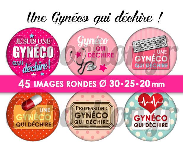Une Gynéco qui déchire ! ☆ 45 Images Digitales Numériques RONDES 30 25 et 20 mm Page de collage digital pour cabochons