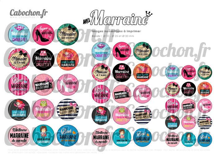 Ma Marraine ☆ 45 Images Digitales Numériques RONDES 30 25 et 20 mm Page de collage digital pour cabochons
