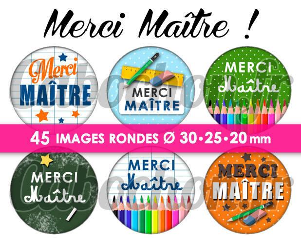Merci Maître ! ll ☆ 45 Images Digitales Numériques RONDES 30 25 et 20 mm Page de collage digital pour cabochons