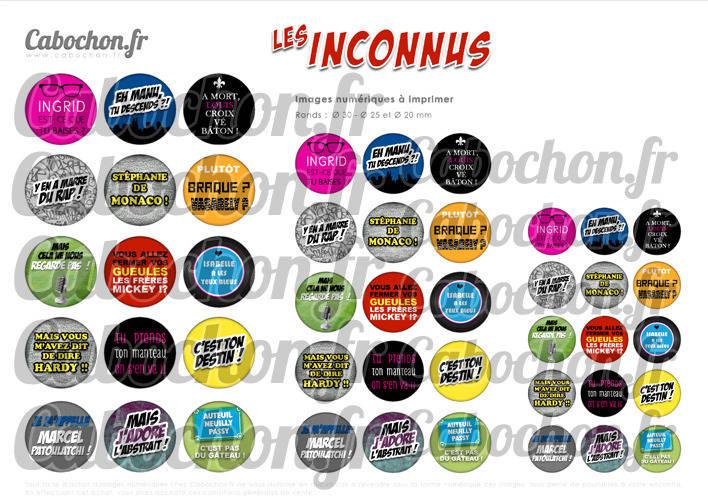 Les Inconnus ☆ 45 Images Digitales Numériques RONDES 30 25 et 20 mm Page de collage digital pour cabochons