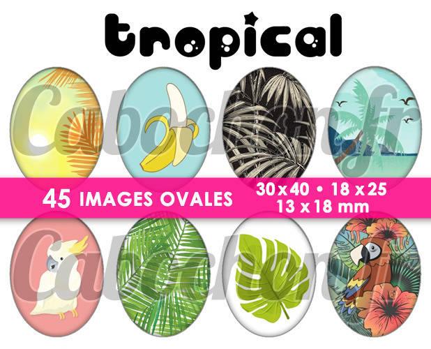 Tropical ☆ 45 Images Digitales Numériques OVALES 30x40 18x25 et 13x18 mm Page digitale pour cabochons