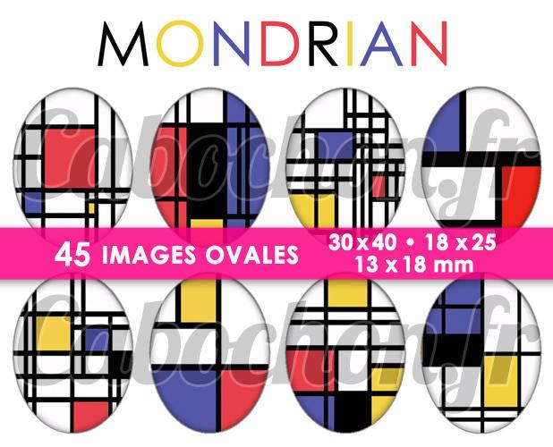 Mondrian ☆ 45 Images Digitales Numériques OVALES 30x40 18x25 et 13x18 mm Page digitale pour cabochons
