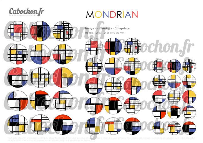 Mondrian ☆ 45 Images Digitales Numériques RONDES 30 25 et 20 mm Page de collage digital pour cabochons