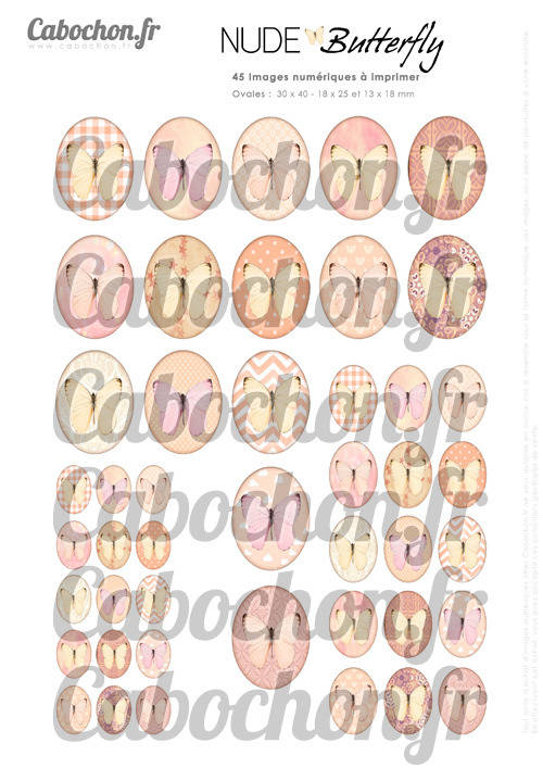 Nude Butterfly ☆ 45 Images Digitales Numériques OVALES 30x40 18x25 et 13x18 mm Page digitale pour cabochons
