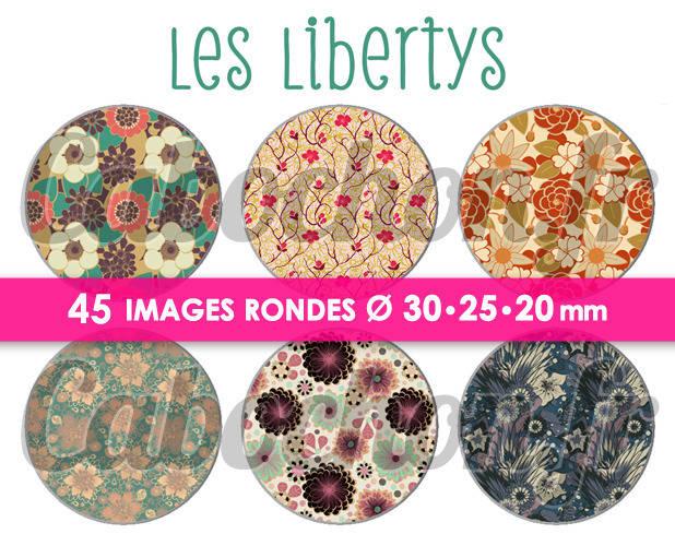 Les Libertys ☆ 45 Images Digitales Numériques RONDES 30 25 et 20 mm Page de collage digital pour cabochons