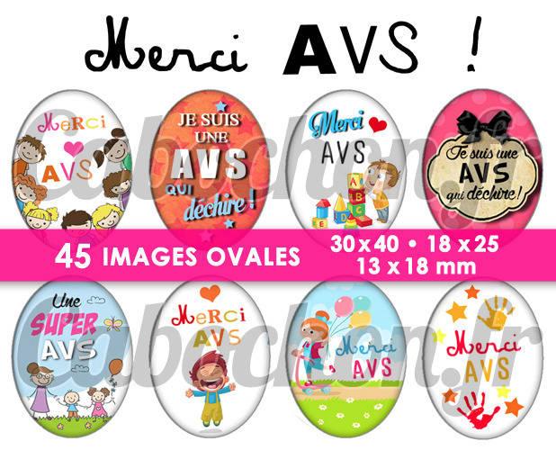 Merci AVS ! ☆ 45 Images Digitales Numériques OVALES 30x40 18x25 et 13x18 mm Page digitale pour cabochons