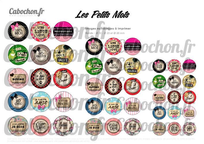 Les Petits Mots lll ☆ 45 Images Digitales Numériques RONDES 30 25 et 20 mm Page de collage digital pour cabochons
