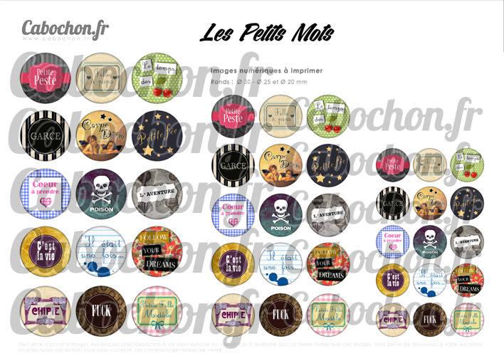 Les Petits Mots ll ☆ 45 Images Digitales Numériques RONDES 30 25 et 20 mm Page de collage digital pour cabochons