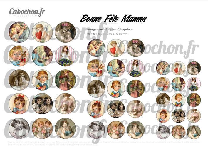 Bonne Fête Maman Vl ☆ 45 Images Digitales Numériques RONDES 30 25 et 20 mm Page de collage digital pour cabochons