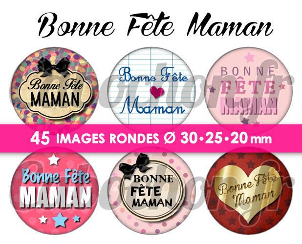 Bonne Fête Maman V ☆ 45 Images Digitales Numériques RONDES 30 25 et 20 mm Page de collage digital pour cabochons