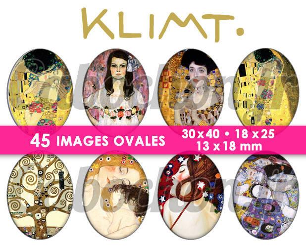 KLIMT ☆ 45 Images Digitales Numériques OVALES 30x40 18x25 et 13x18 mm Page digitale pour cabochons