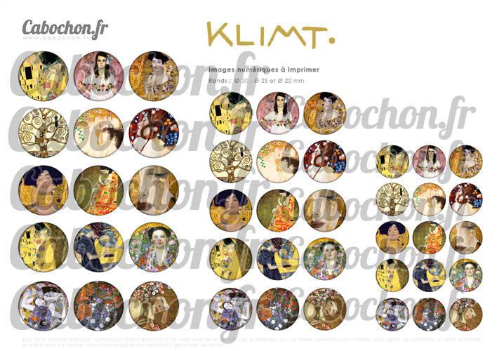 KLIMT ☆ 45 Images Digitales Numériques RONDES 30 25 et 20 mm Page de collage digital pour cabochons