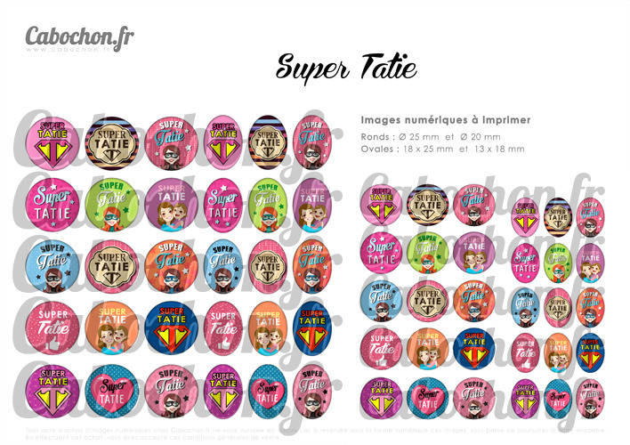 Super Tatie ☆ 60 Images Digitales Numériques RONDES 25 et 20 mm et OVALES 18x25 et 13x18 mm Page d'images pour cabochons