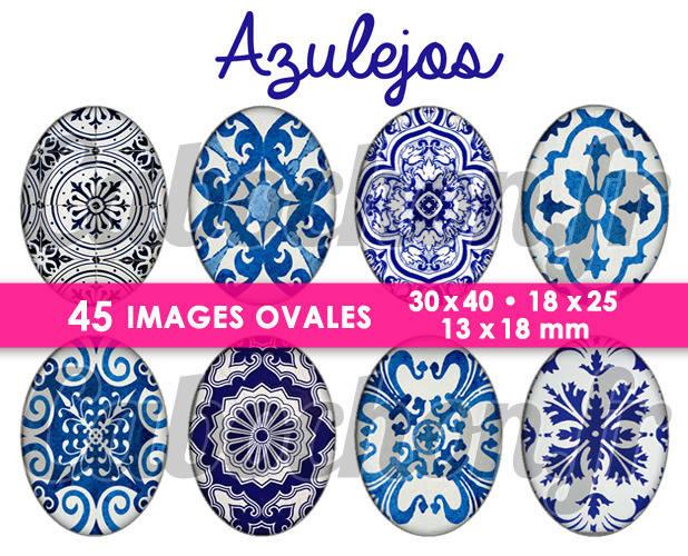 Azulejos ☆ 45 Images Digitales Numériques OVALES 30x40 18x25 et 13x18 mm Page digitale pour cabochons