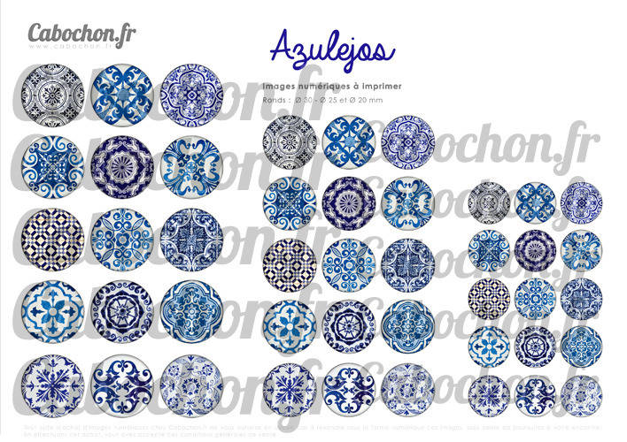 Azulejos ☆ 45 Images Digitales Numériques RONDES 30 25 et 20 mm Page de collage digital pour cabochon