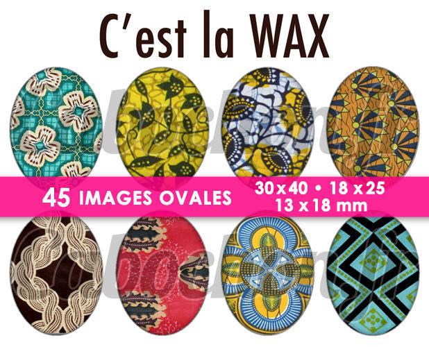 C'est la WAX ☆ 45 Images Digitales Numériques OVALES 30x40 18x25 et 13x18 mm Page digitale pour cabochons