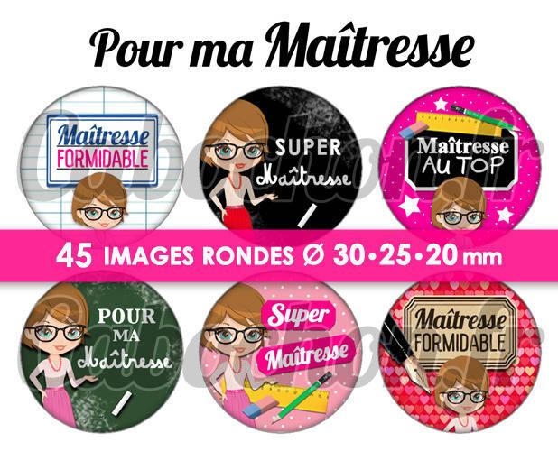 Pour ma Maîtresse ☆ 45 Images Digitales Numériques RONDES 30 25 et 20 mm Page de collage digital pour cabochons
