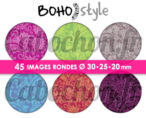 Boho Style ☆ 45 Images Digitales Numériques RONDES 30 25 et 20 mm Page de collage digital pour cabochons