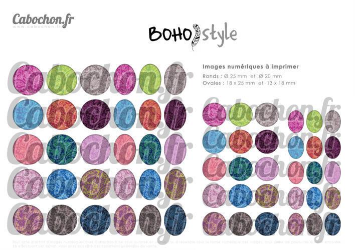 Boho Style ☆ 60 Images Digitales Numériques RONDES 25 et 20 mm et OVALES 18x25 et 13x18 mm Page d'images pour cabochons