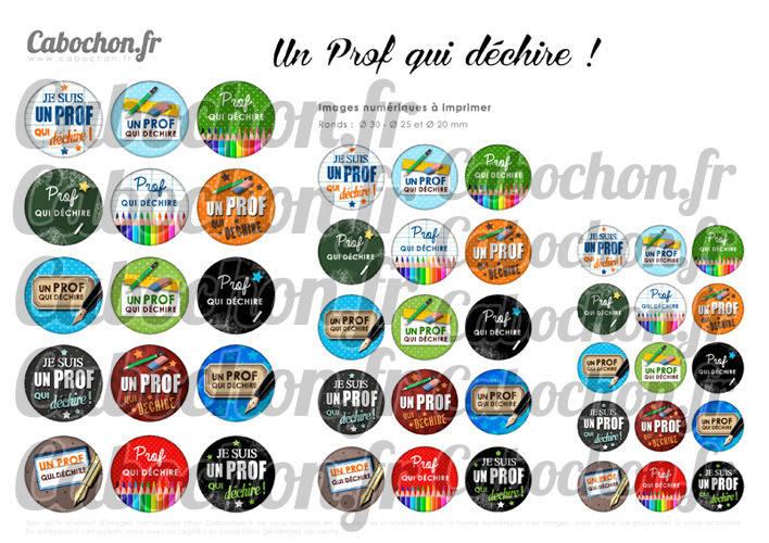 Un Prof qui déchire ! ☆ 45 Images Digitales Numériques RONDES 30 25 et 20 mm Page de collage digital pour cabochons