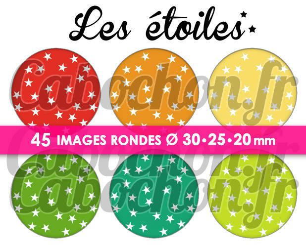 ☆ 45 Images Digitales / Numériques RONDES 30 25 et 20 mm ° Les Etoiles ll ° - Page de collage digital pour cabochons