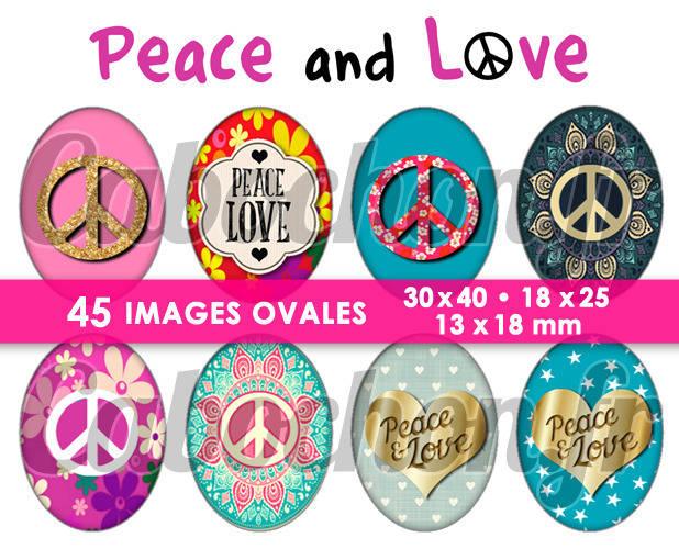 ☆ 45 Images Digitales / Numériques OVALES 30x40 18x25 et 13x18 mm ° Peace and Love ° - Page digitale pour cabochons