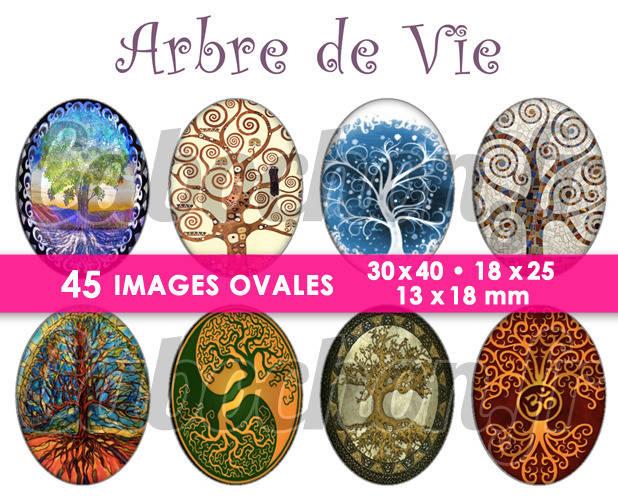 ☆ 45 Images Digitales / Numériques OVALES 30x40 18x25 et 13x18 mm ° Arbre de Vie ° - Page digitale pour cabochons