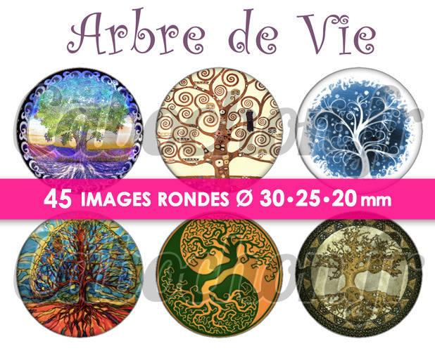 ☆ 45 Images Digitales / Numériques RONDES 30 25 et 20 mm ° Arbre de Vie ° - Page de collage digital pour cabochons