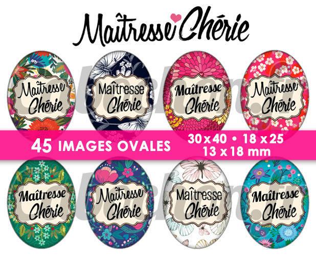 ☆ 45 Images Digitales / Numériques OVALES 30x40 18x25 et 13x18 mm ° Maîtresse Chérie ll ° - Page digitale pour cabochons