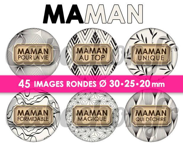 ☆ 45 Images Digitales / Numériques RONDES 30 25 et 20 mm ° Maman lV ° - Page de collage digital pour cabochons