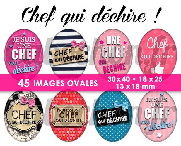 ☆ 45 Images Digitales / Numériques OVALES 30x40 18x25 et 13x18 mm ° Chef qui déchire ! ° - Page digitale pour cabochons