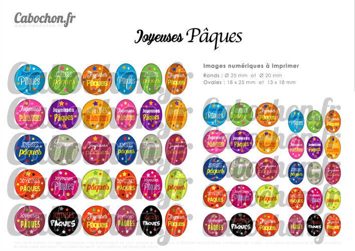 ☆ 60 Images Digitales / Numériques RONDES 25 et 20 mm et OVALES 18x25 et 13x18 mm ° Joyeuses Pâques lll ° - Page d'images pour cabochons