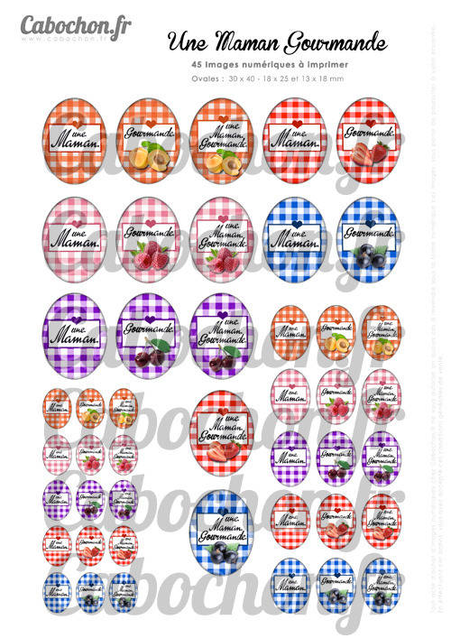 Une Maman Gourmande ☆ 45 Images Digitales OVALES 30x40 18x25 et 13x18 mm confiture fraise framboise cerise fruit abricot