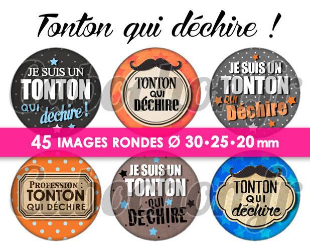 Tonton qui déchire ! ☆ 45 Images Digitales / Numériques RONDES 30 25 et 20 mm  Page de collage digital pour cabochons