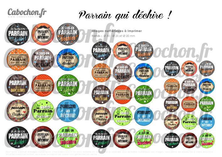 ☆ 45 Images Numériques RONDES 30 25 et 20 mm ° Parrain qui déhire ! ° - Page de collage digital pour cabochons